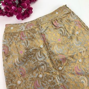 Elevenses Brocade Gold and Pink Pencil Skirt